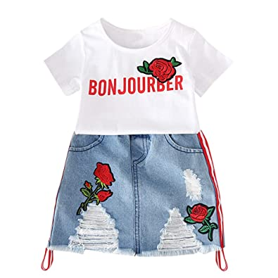d1c8ff8716b Child Clothes Set, Girls Letter White T-Shirt + Ripped Jeans Skirt Toddler  Summer