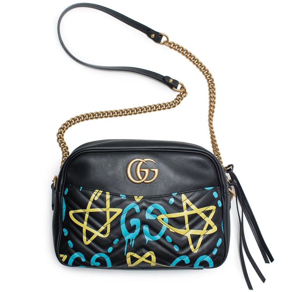 9c20aa5def9e18 Amazon.com  Gucci Ghost GG Marmont Black Graffiti Leather Shoulder Bag  Handbag Italy New 1  Shoes