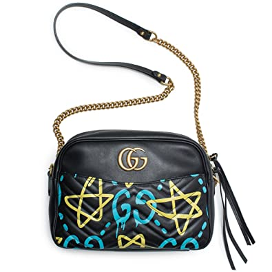 cbe58d2867c Amazon.com  Gucci Ghost GG Marmont Black Graffiti Leather Shoulder Bag  Handbag Italy New 1  Shoes