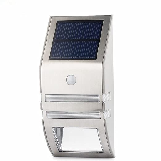 Stainless Steel Solar Powered LED Outdoor Wall Light Lamp Fence Garden Security