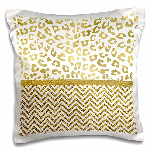 Foil Bling T-shirt - 3dRose Anne Marie Baugh - Patterns - Ultra Glam Faux Gold Cheetah Print With Chevron Stripes - 16x16 inch Pillow Case (pc_274084_1)