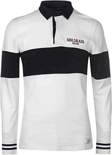 Soul Cal Hombre Deluxe Camisa Polo De Rugby Manga Larga Blanco XXL ...