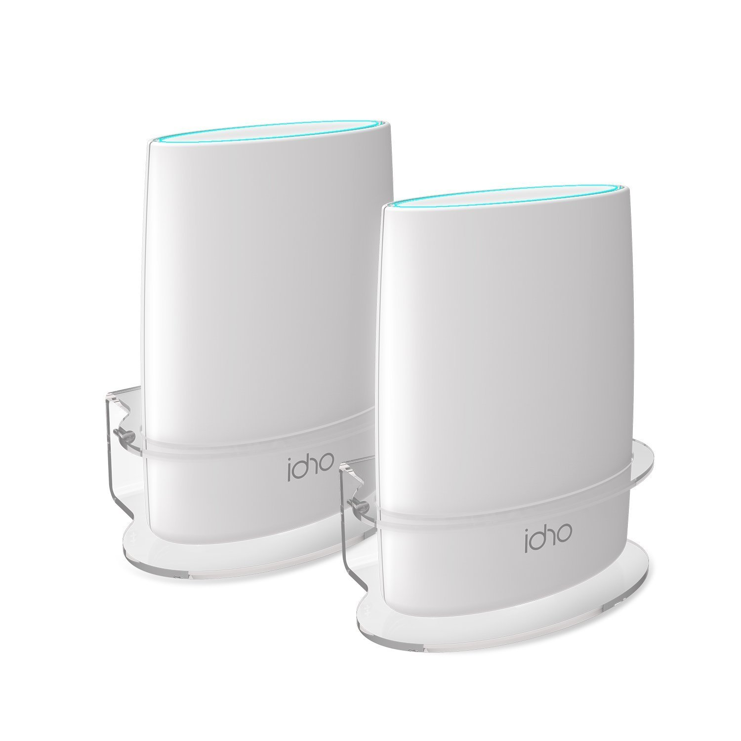 Netgear Orbi Wall Mount, BASSTOP Sturdy Clear Acrylic Wall Mount Bracket Compatible with Orbi WiFi Router RBS40, RBK40, RBS50, RBK50, AC2200, AC3000 Tri Band Home WiFi Router- (2 Packs) by BASSTOP
