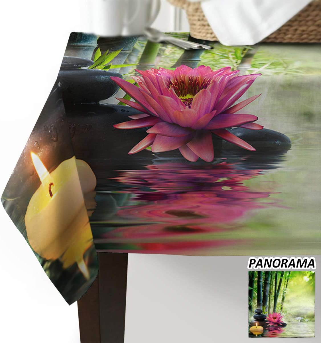 Royalreal Rectangle Table Cloth Oil-Proof Spill-Proof Tablecloth Chinese Style Bamboo Stone Lotus Flower Decorative Table Cover for Indoor and Outdoor Use 60x104 inch