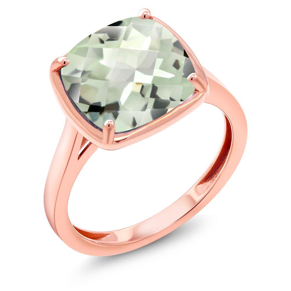 3.33 Ct Cushion Checkerboard Green Amethyst 14K Rose Gold Ring