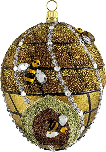 Joy To The World Glitterazzi Beehive Jeweled Egg Polish Glass Christmas Tree Ornament Bee Poland, fun bee ornaments for christmas