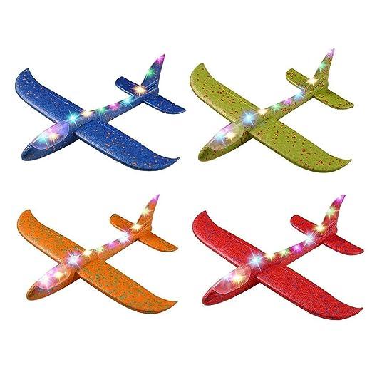 Prom-near - Avión de poliestireno para niños con luz, avión ...