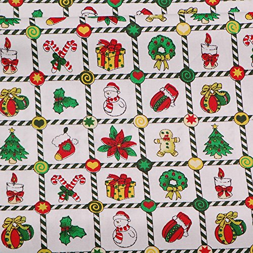 Green Christmas Gift Print Cotton Fabric,Craft Sewing Quilting Fabric Sold by 39