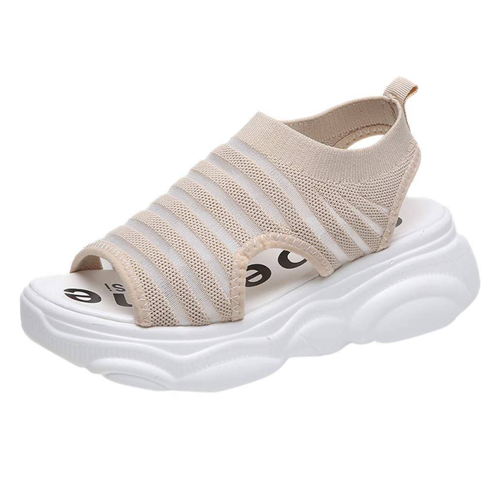 Women's Fashion Wedge Sandals Fish Mouth Breathable Sandals Hollow Out Lightweight Platform Sandals Soft Sole (Beige, US:6)