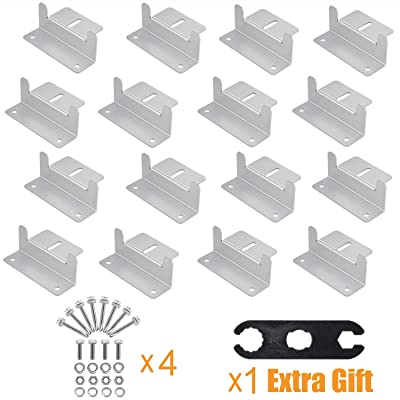 AOOHOOA Solar Panel Mounting Z Brackets Kit with Nuts and Bolts for RV Camper,Boat,Wall and Other Off Gird Roof Installation,A Set of 4 Units (4 Set): Garden & Outdoor