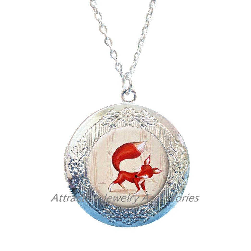 Fox Locket Necklace Fox Locket Pendant Wearable Art Jewelry Animal Locket Necklace,Animal Locket Pendant Animal jewellery Wild animal Kids jewelry,QK171