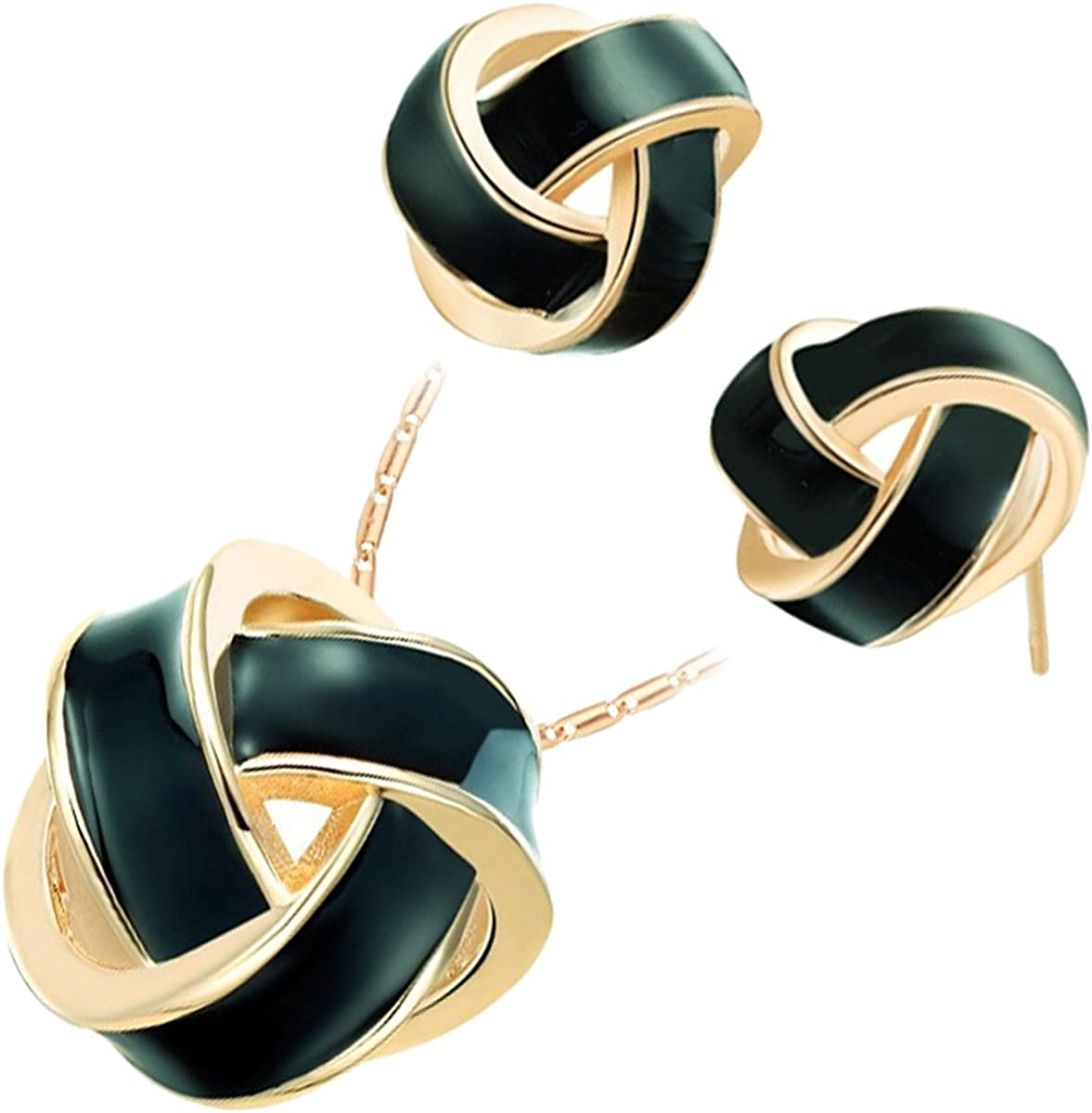 GWG Jewellery Women Set Gift Jewellery Set 18K Gold Plated Pendant Necklace and Earrings Knot with Coloured Stripe Unusual Design for Women