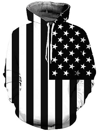 c3484919961a Loveternal Women Men American Flag Hoodie 3D Printed Drawstring Pocket Pullover  Hoodies Sweatshirt S