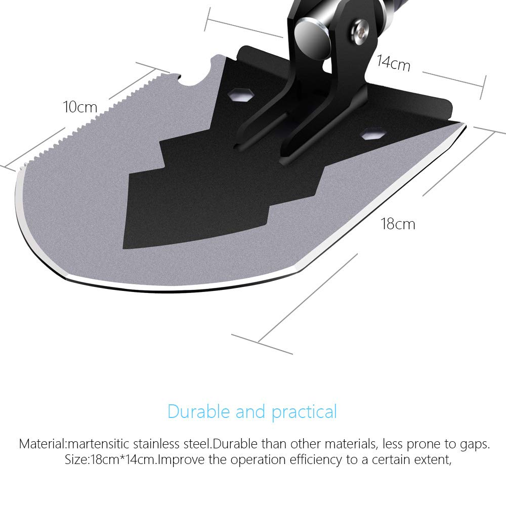 """Tactical Multitool Portable Survival Camping Shovels with Carrying 14-35.5/"""" Pouch Ultra Durable Entrenching Tool for Outdoor 1DOT2 Military Folding Shovel Digging Hunting Backpacking Black"""