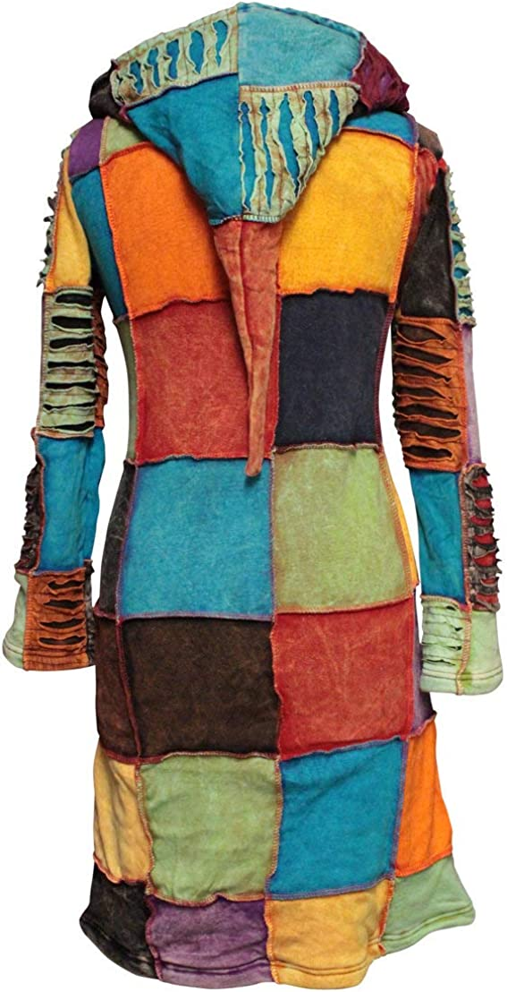 shopoholic FASHION FOLLETTO cappuccio ricamato con con strappi strati giacca lunga