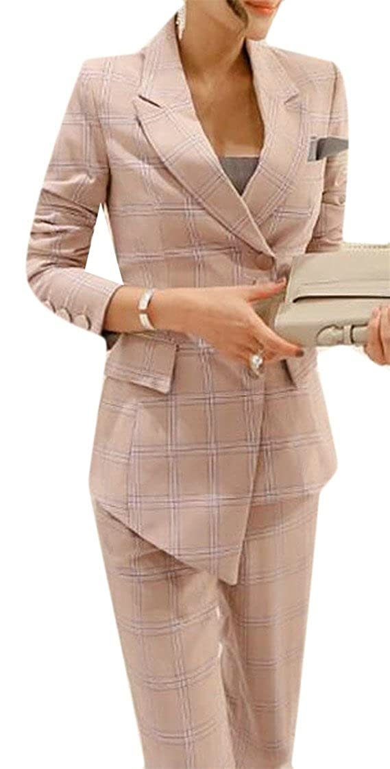1 GAGA Women's Two Piece Long Sleeve Office Blazer and Pant Suit Set