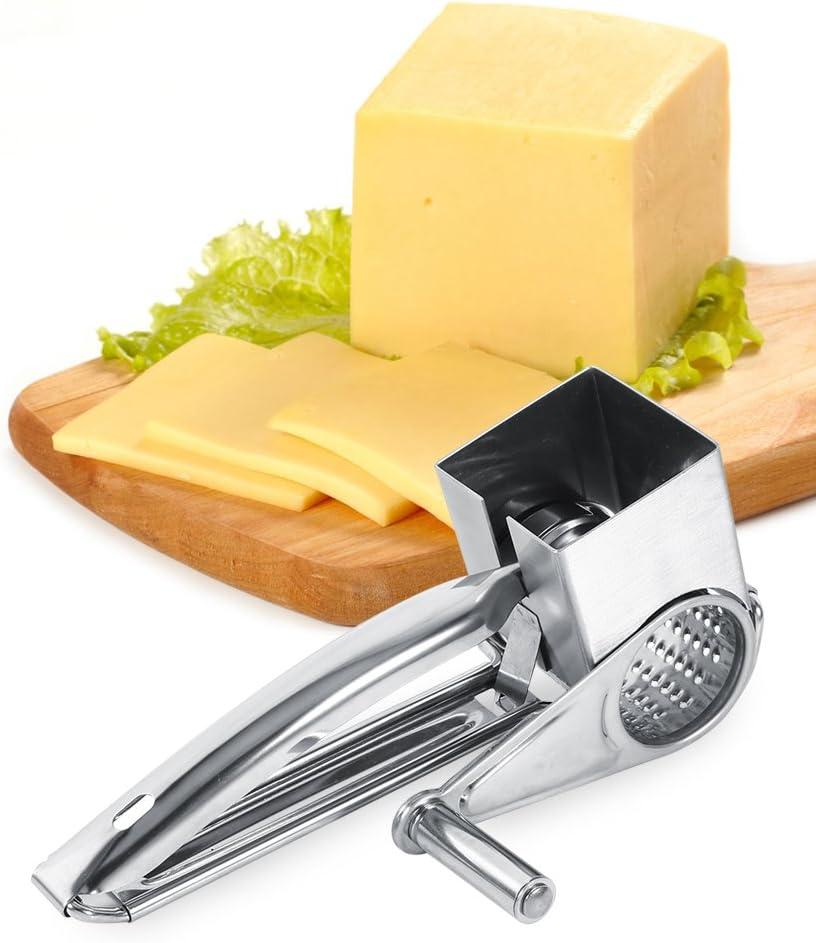 Ruiqas Grattugia per Formaggio Multifunzionale da Cucina in Acciaio Inossidabile Rotante 1 Tamburo Fetta Strumento Tagliuzzatore