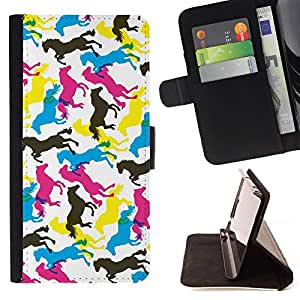 BullDog Case - FOR/Samsung Galaxy S6 EDGE / - / horses colorful art random wallpaper horse /- Monedero de cuero de la PU Llevar cubierta de la caja con el ID Credit Card Slots Flip funda de cuer