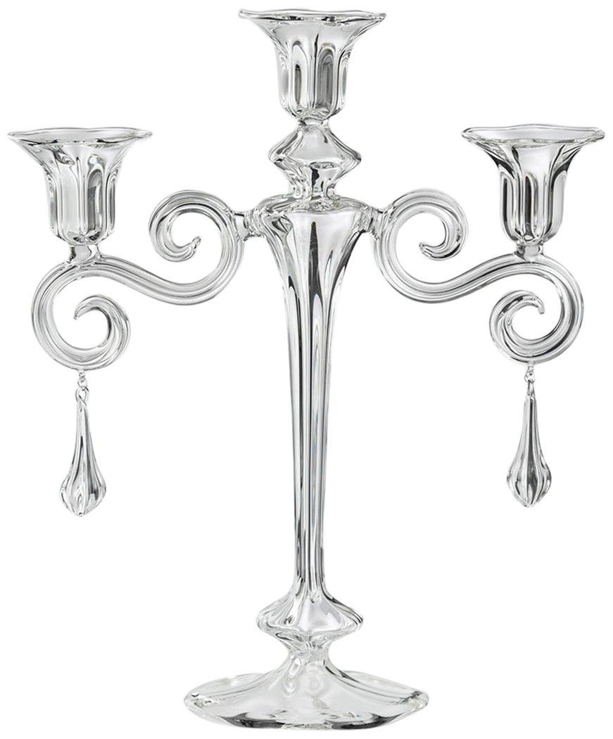 Gabriela Seres 4448Carmen Spiral 3Candles Glass Candelabra, Transparent, 55x 44x 25cm