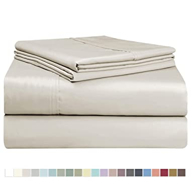Pizuna 400 Thread Count Cotton King Sheet Set, 100% Long Staple Cotton Beige King Size Sheets, Natural Soft Cotton Sateen Bed Sheets, Deep Pocket fit Upto 15 inch (King Taupe Sheet Cotton 100% Cotton)