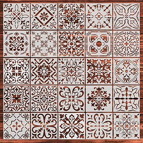YUEAON 25-Pack (6×6 Inch) Painting Stencils for Floor Wall Tile Fabric Wood Burning Art&Craft Supplies Mandala Template-reuseable