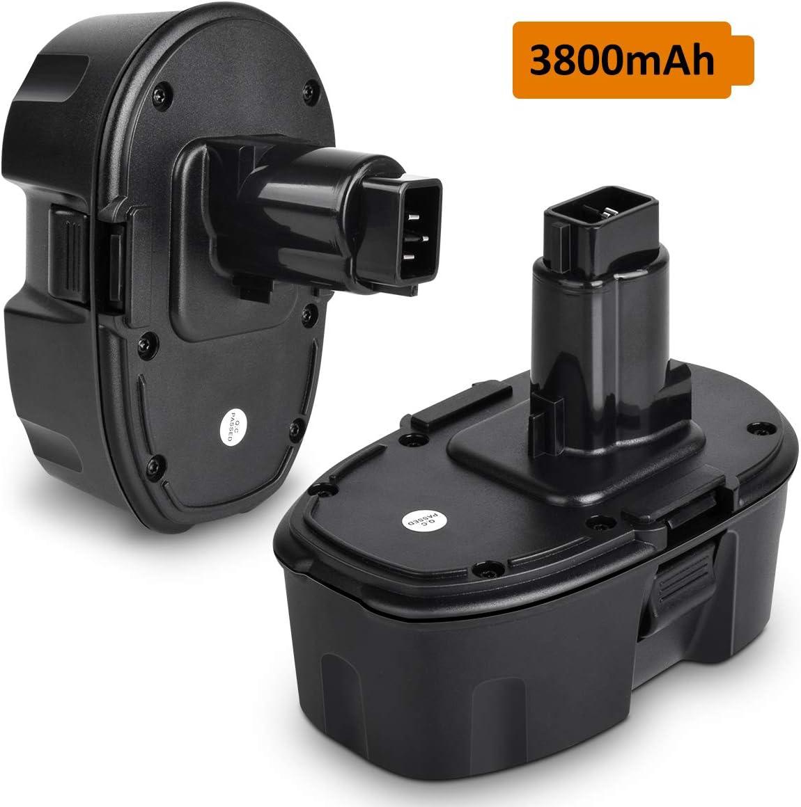 2Pack 3800mAh Replacement for Dewalt 18v Battery XRP DC9096 DC9098 DC9099 DE9038 DE9095, DE9096, DW9095 DW9096 DW9098 3.8Ah Ni-Mh Batteries for 18 Volt Dewalt Batteries