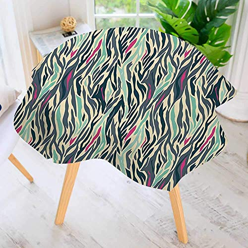 CANCAKA Round Tablecloth-Camouflage Style ZebraAfrican Hibiscus Wilderness Themed Waterproof Wine Tablecloth Wedding Party Restaurant 67