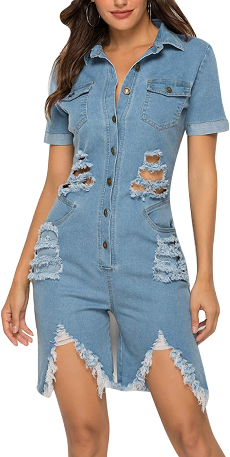 Sopliagon Women Jeans Pants Jumpsuits Rompers Ripped Distressed Short Sleeve Denim Overalls Playsuit