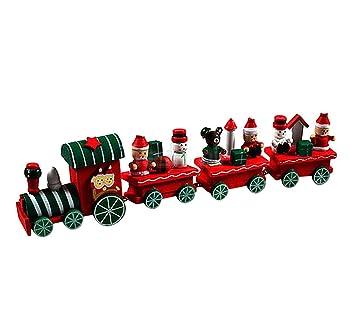 Amzeca 4 Pieces Wood Christmas Xmas Train Decoration Decor Gift
