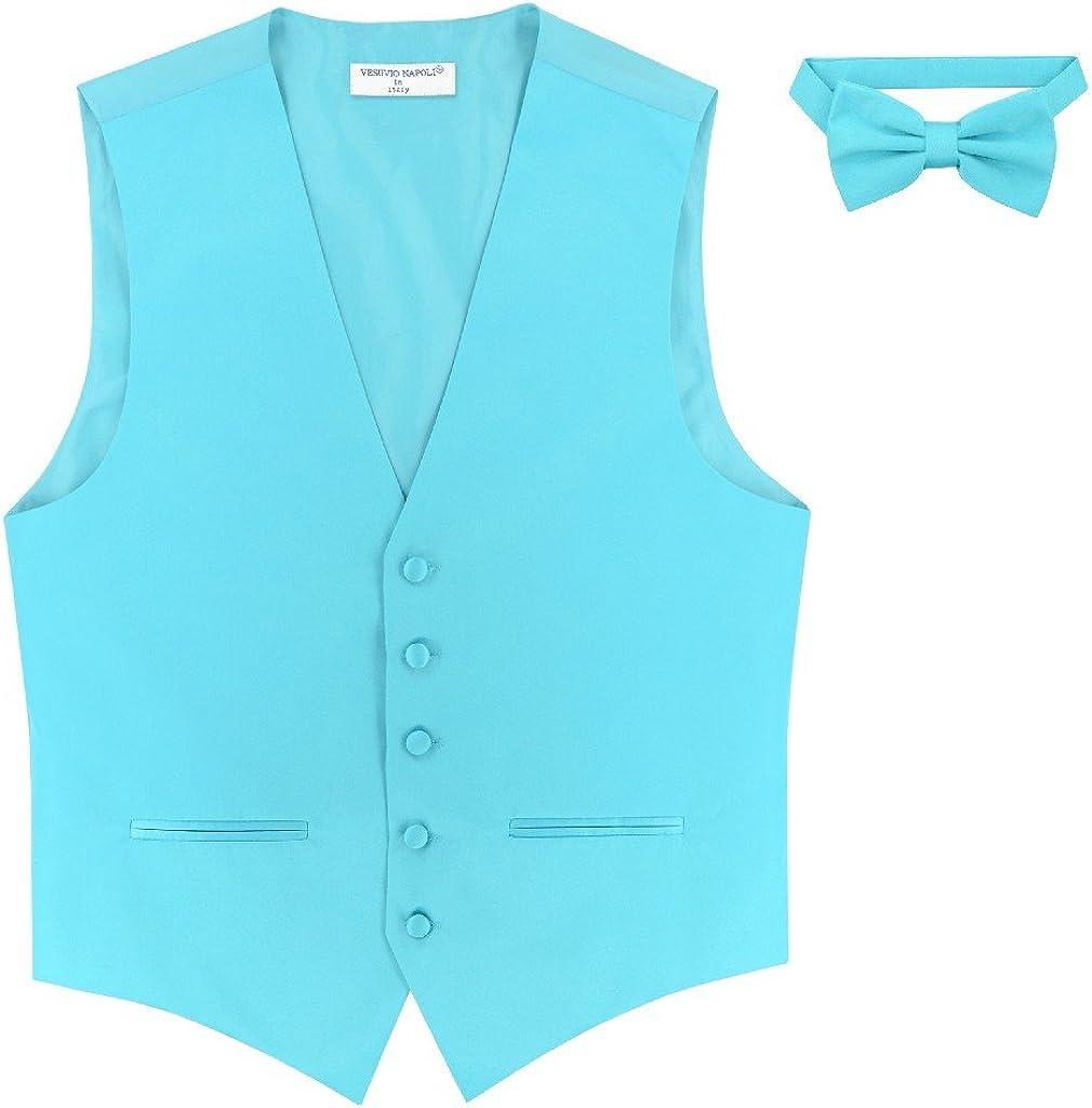 "New Men/'s Vesuvio Napoli Paisley Tuxedo Vest 2.5/"" Skinny Necktie set Silver"