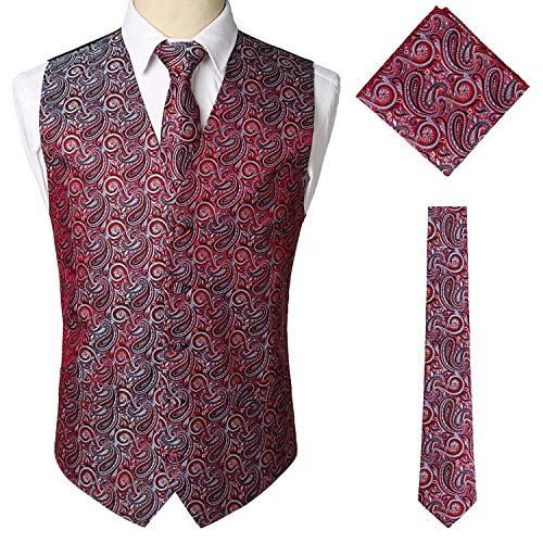 V Panciotto Rosso Sttlzmc Set Elegante Slim Scollo Gilet Paisley Uomo Fit Tascabile Matrimonio Doppiopetto A Cravate amp; xxPqX1gw