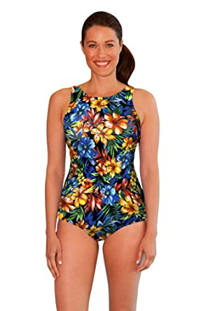 b64d3d64a2 Aquamore Chlorine Resistant Oasis High Neck One Piece Swimsuit Size 10