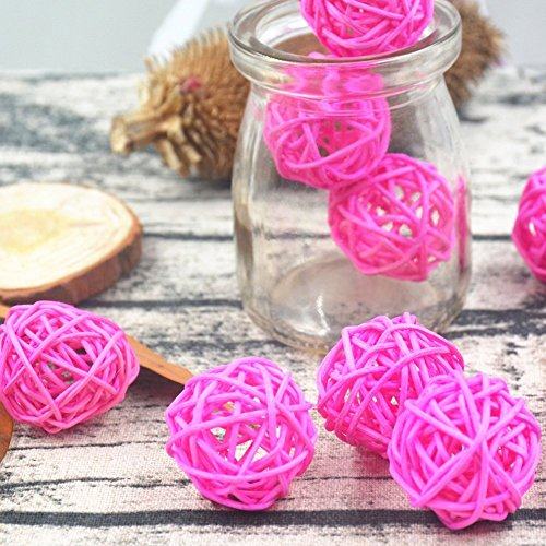 10PCS Pink Natural Rattan Ball Girl Nursery Mobiles Wedding Birthday Shower Centerpieces Cat Parrot Toddler Toys Festival Hanging - Bamboo Parrot Pink