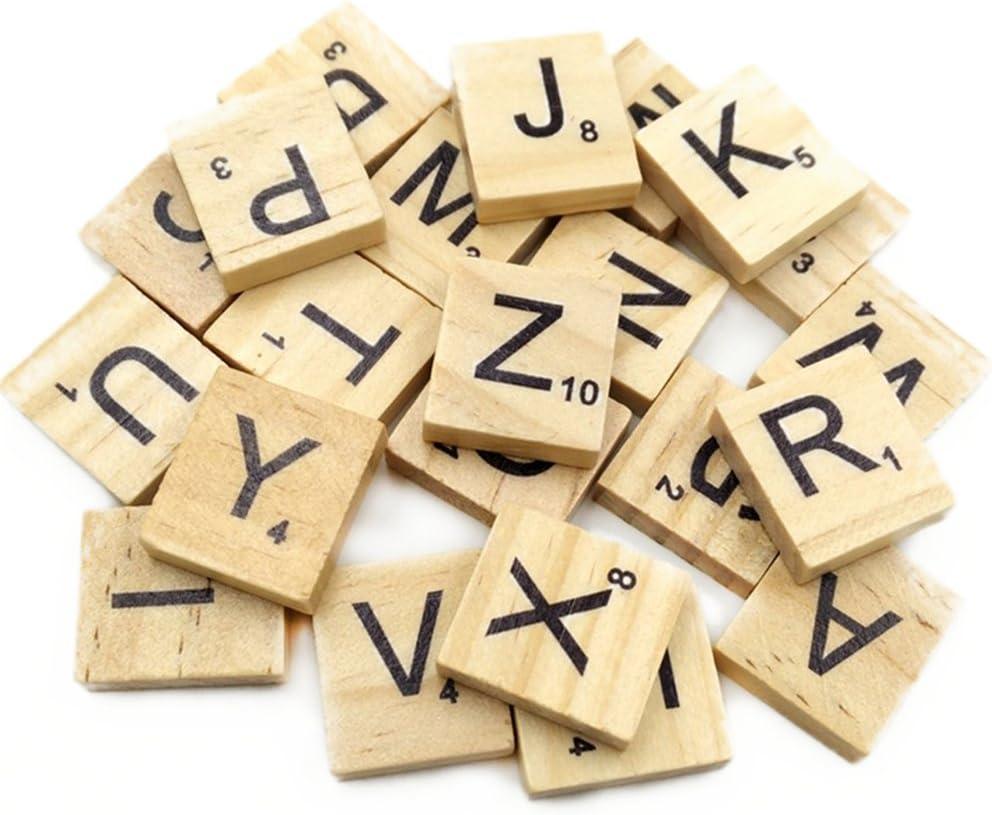 Leisial 100 Piezas de Madera Capital Scrabble Azulejos Alfabeto Letras Números para Manualidades Joyas Hacer Artes DIY Decoración Pantallas, Madera, Wooden 1, 1.8 * 2cm: Amazon.es: Hogar