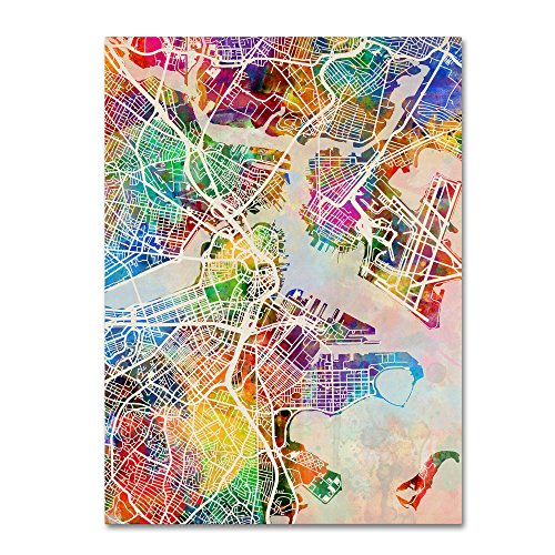 Boston MA Street Map by Michael Tompsett, 1 Canvas Wall Art