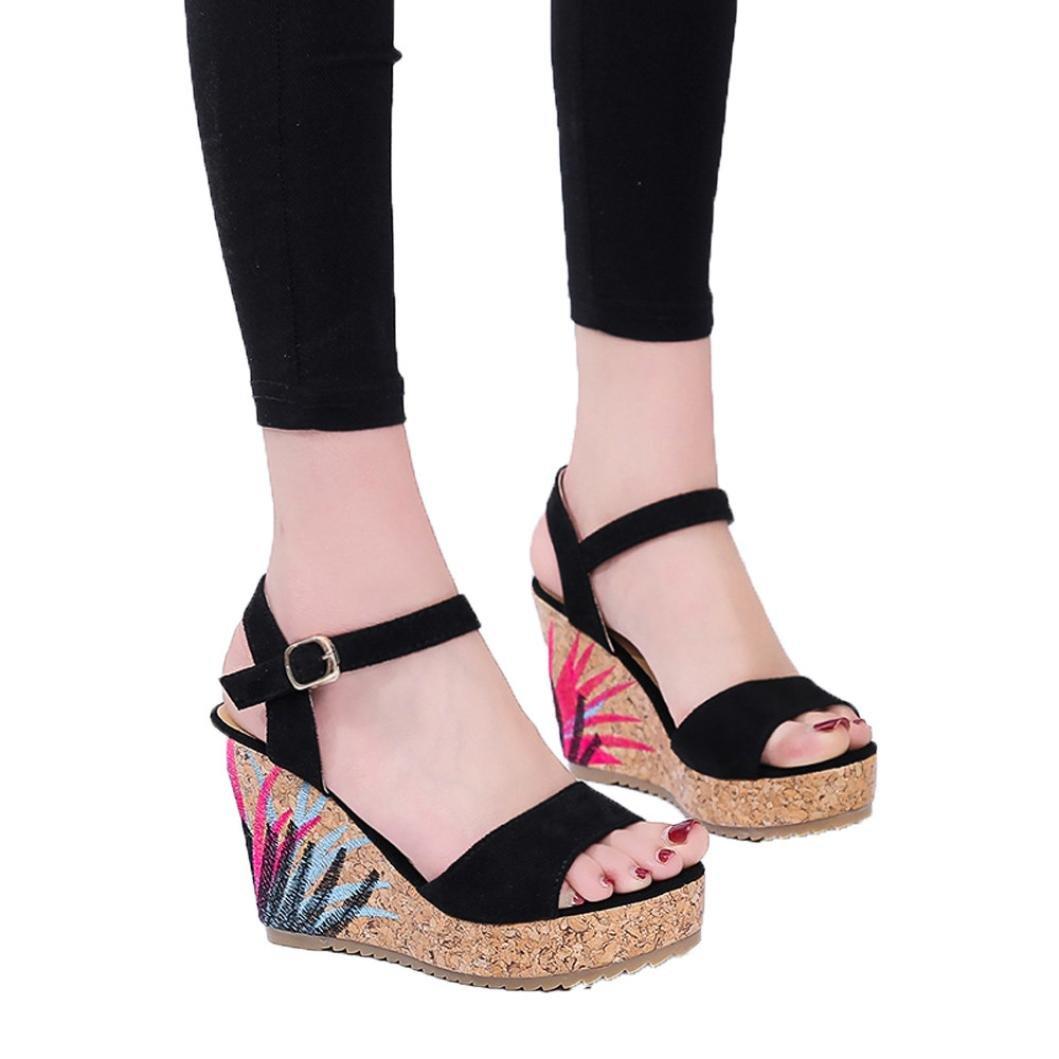 best authentic 03450 1cf64 ... FreshZone Women Bohemian Sandals Flock Ankle Floral Bottom Platform  Wedges Wedges Wedges Shoes High Heels Sandal ...