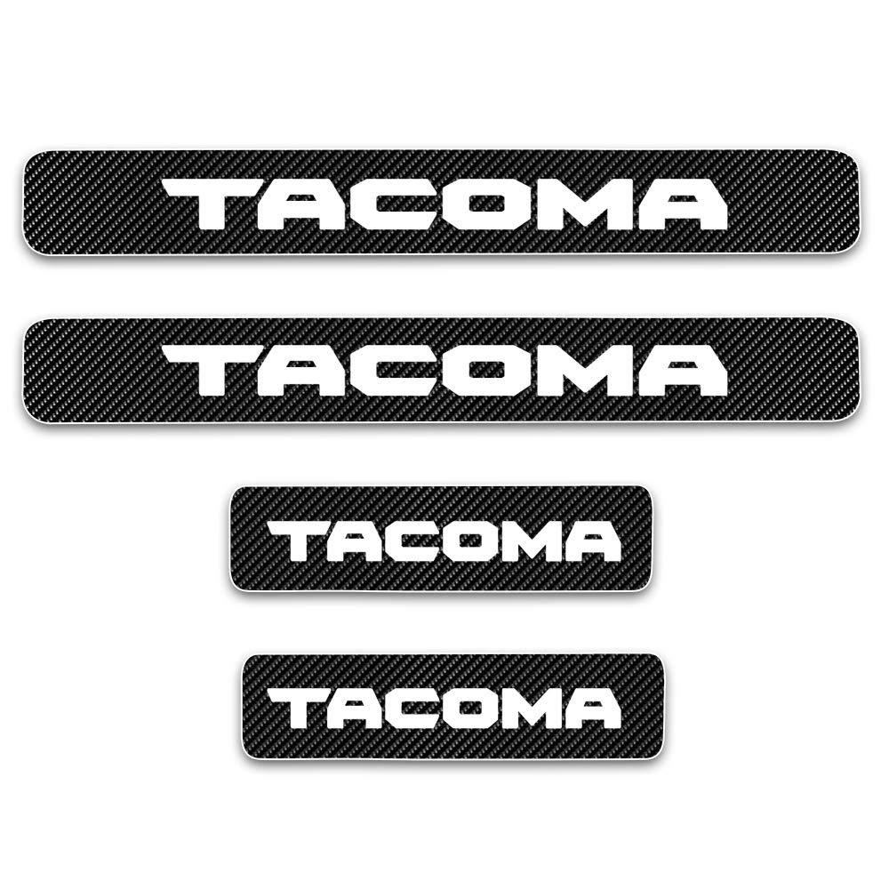 SENYAZON Tacoma Sticker Carbon Fiber Vinyl Reflective Car Door Sill Decoration Scuff Plate Accessories for Toyota Tacoma Blue