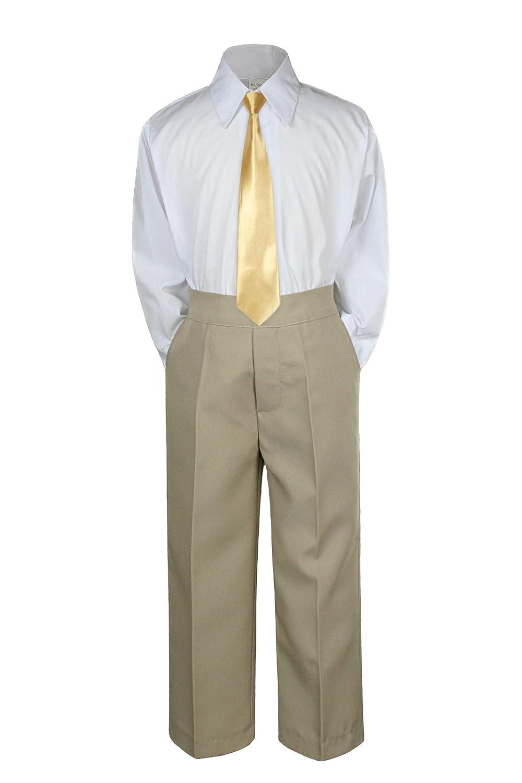 2T 3pc Formal Baby Teens Boys Mustard Necktie Khaki Pants Sets Suits S-14