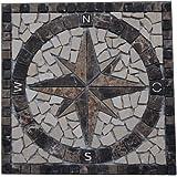 Marbre Rosace Mosaique en carrelage 30x30 cm x 8 mm rose des vents Emperador Dark