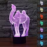 Novelty Animal Cute 3D Camel Night Light USB Touch Switch Decor Table Desk Optical Illusion Lamps 7 Color Changing Lights LED Table Lamp Xmas Home Love Brithday Children Kids Decor Toy Gift