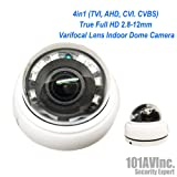 101AV 1080P True Full-HD 4in1 (TVI, AHD, CVI, CVBS) IR Indoor Dome Camera 2.8-12mm DWDR OSD Control D/N Vision High Resolution Wide Angle View for CCTV DVR Home Office Surveillance Security DC12V