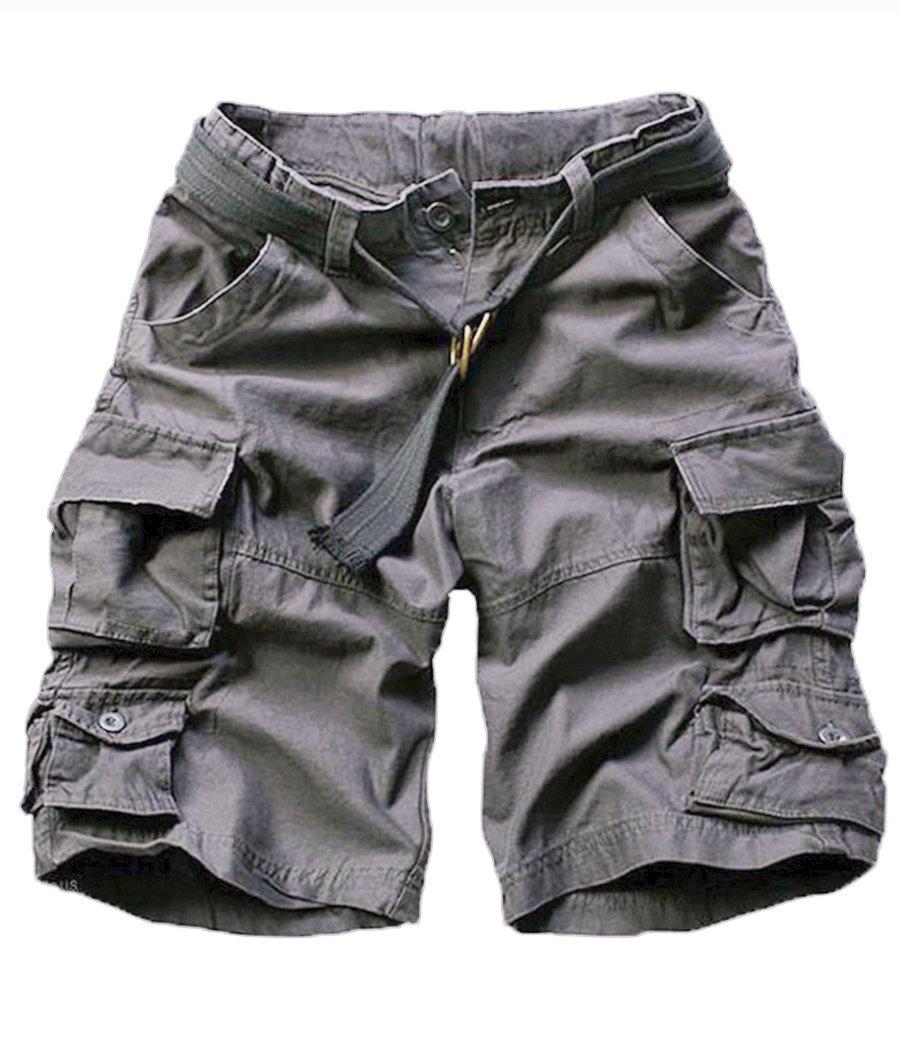 FOURSTEEDS Women's Cotton Butt Lift Multi-Pockets Camouflage Casual Twill Bermuda Cargo Shorts with Belt Dark Grey US 6