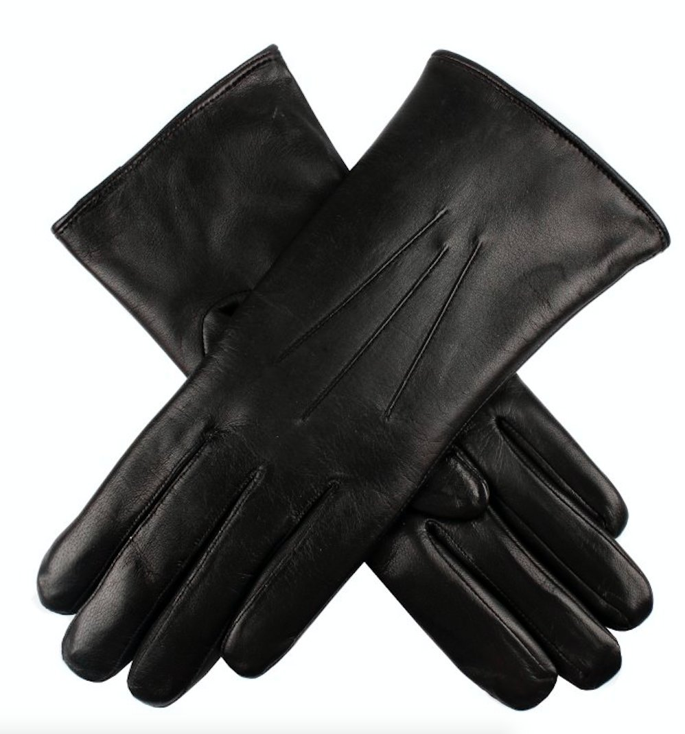 Dents Ladies Kangaroo Leather Gloves Cashmere Wool Lined Winter Women's (with Gift Box) (Small, Black)