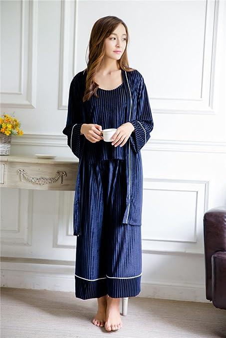 Pantalones de Pierna Ancha de Terciopelo de Terciopelo de Bombeo de Otoño Pijama de Mujer de