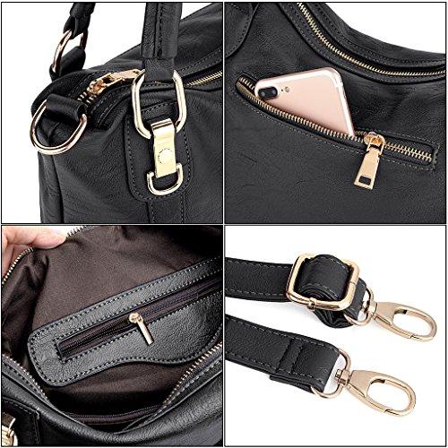 UTO mujeres bolso PU cuero elegante estilo Hobo bolsos de hombro Negro