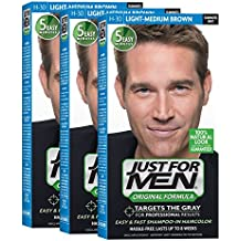 Just For Men Original Formula Men's Hair Color, Light Medium Brown (Pack of 3)