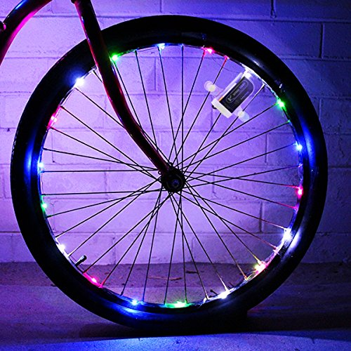 allnice Bike Wheel Lights Waterproof 20LED Bike Spoke Lights USB Rechargeable Colorful Cycling Lights Bicycle Tire Accessories for Night Riding Safety Warning and Decoration (Multicolor, 1 Pack) by allnice (Image #1)