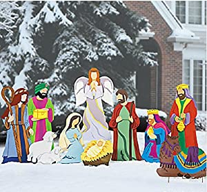 Super deluxe nativity scene large outdoor for Amazon christmas lawn decorations