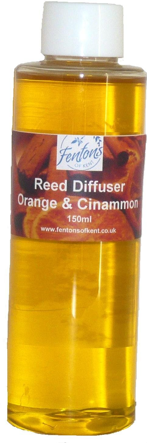 Fentons of Kent Sweet Orange & Cinnamon Reed Diffuser Oil Refill made using essential oils and is long lasting - 150ml