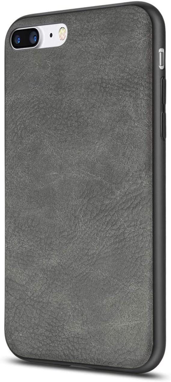 iPhone 7 Plus Case Salawat iPhone 8 Plus Case Shockproof Phone Case with Soft PU Leather Bumper Hard PC Hybrid Protection for Apple iPhone 7/8 Plus 5.5inch (Grey)